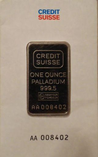 1 Oz.  Palladium Bar - Credit Suisse - 999.  5 Fine In Assay photo