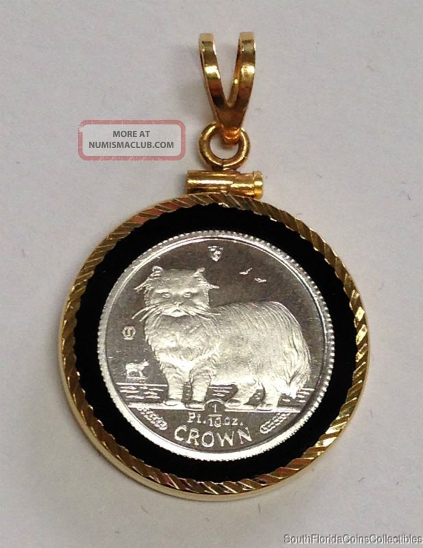 1989 Isle Of Mann 1/10 Ounce Platinum Crown Cat Coin In 14k Gold Bezel Proof UK (Great Britain) photo