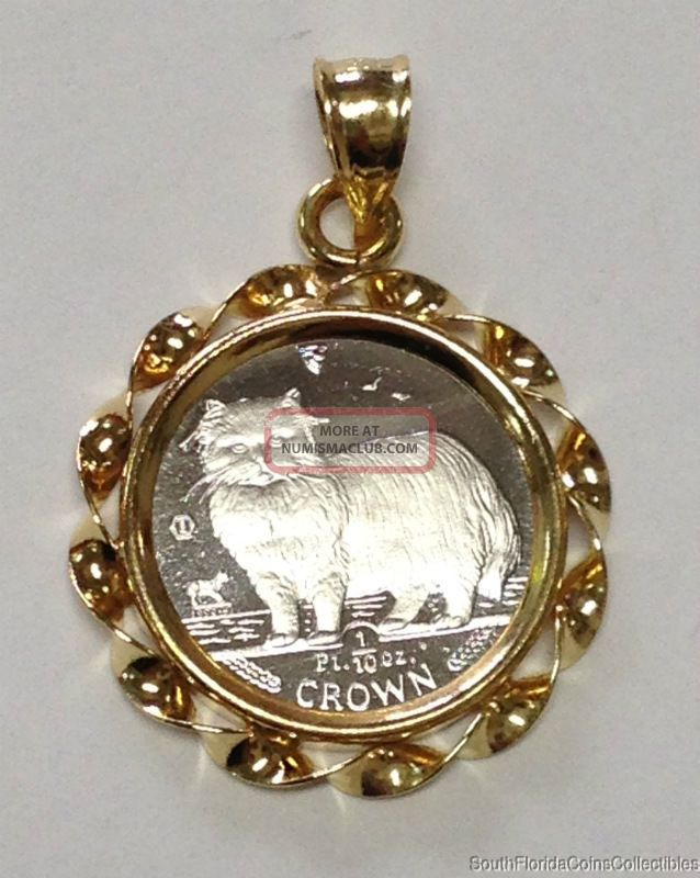 1989 Isle Of Mann 1/10 Ounce Platinum Crown Cat In 14k Gold Rope Bezel Proof UK (Great Britain) photo