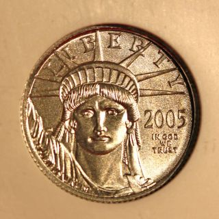 2005 P$10 Statue Of Liberty Platinum Eagle Ms70 photo