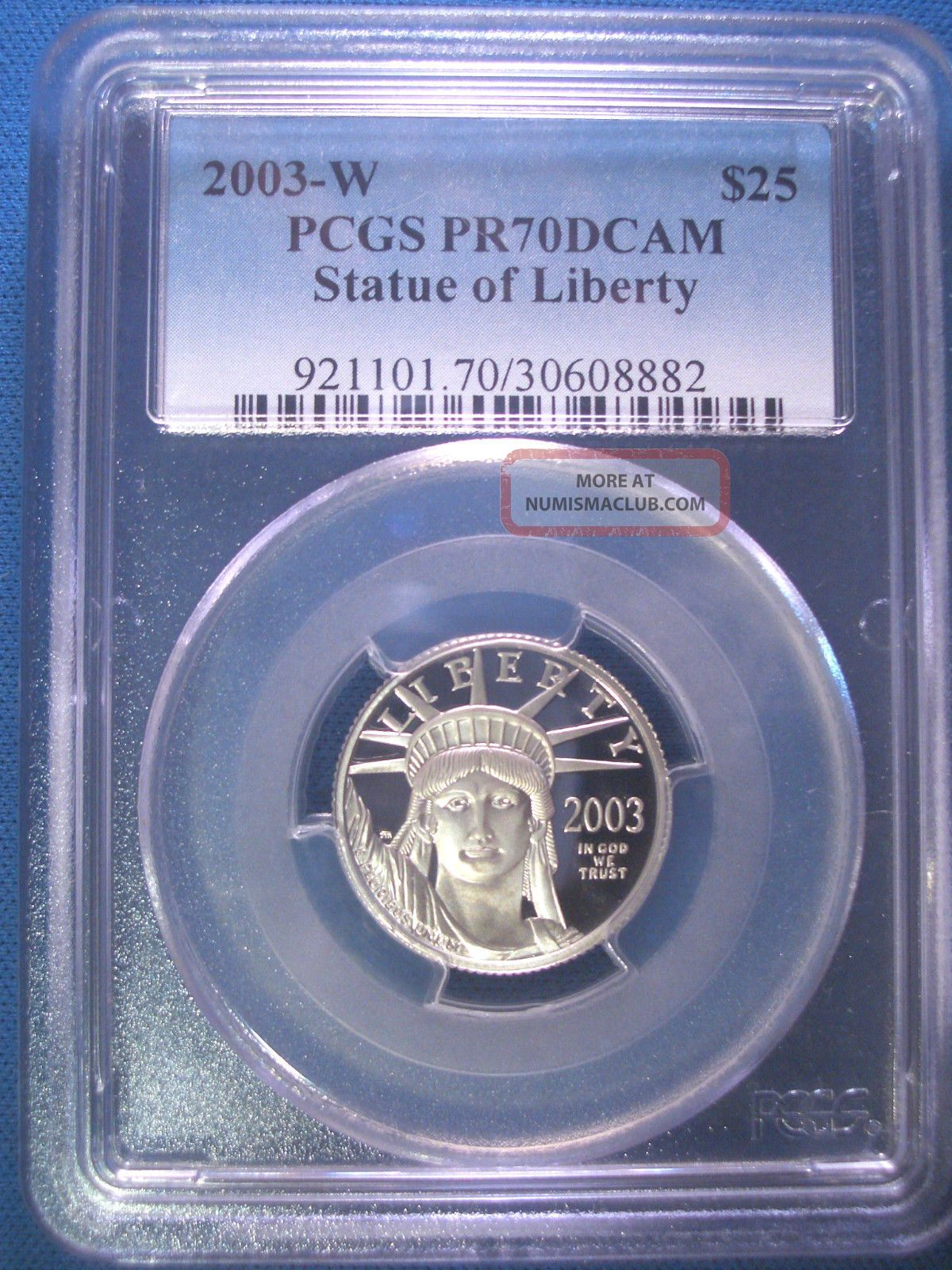 2003 - W $25 Platinum Pcgs Pr70 Dcam Proof Eagle Dollar $800,  Pop Only 189 Platinum photo