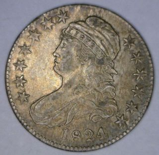1824 Capped Bust Half Dollar In About Uncirculated Overton 103 R1 photo