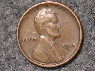 1918 - D Lincoln Wheat Cent - Old Us Penny Coin photo
