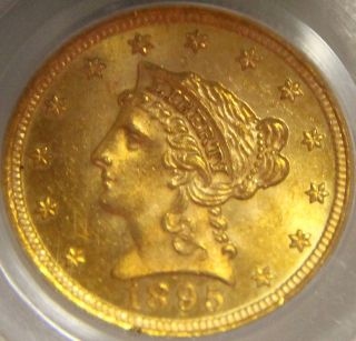 1895 Gold $2.  50 Liberty Pcgs Ms63 Ogh.  Low Mintage Of Only 6000 photo