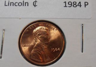 1984 P Lincoln Cent - Bu,  Red photo
