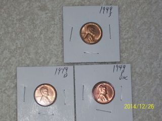 1949 Pds Red Uncirculated Lincoln Cents photo