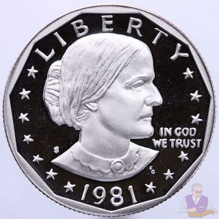1981 S Susan B.  Anthony Dollar Type 2 Gem Deep Cameo Proof Cn - Clad Us Coin photo
