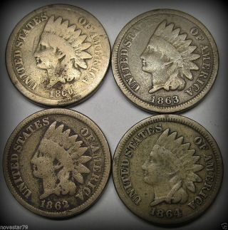 1860,  1862,  1863,  1864 Cn Indian Head Cents/pennies (scarce Early Dates) N/r photo
