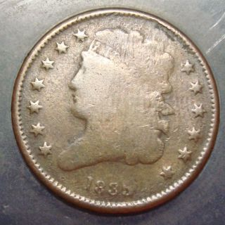 Good,  Details 1835 Classic Turban Head Half Cent Copper More Listed photo