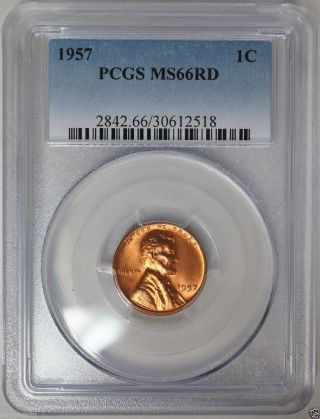 1957 Lincoln Wheat Cent Pcgs Ms66 Rd A Very Lustrous,  Pq Coin.  Hand Selected photo