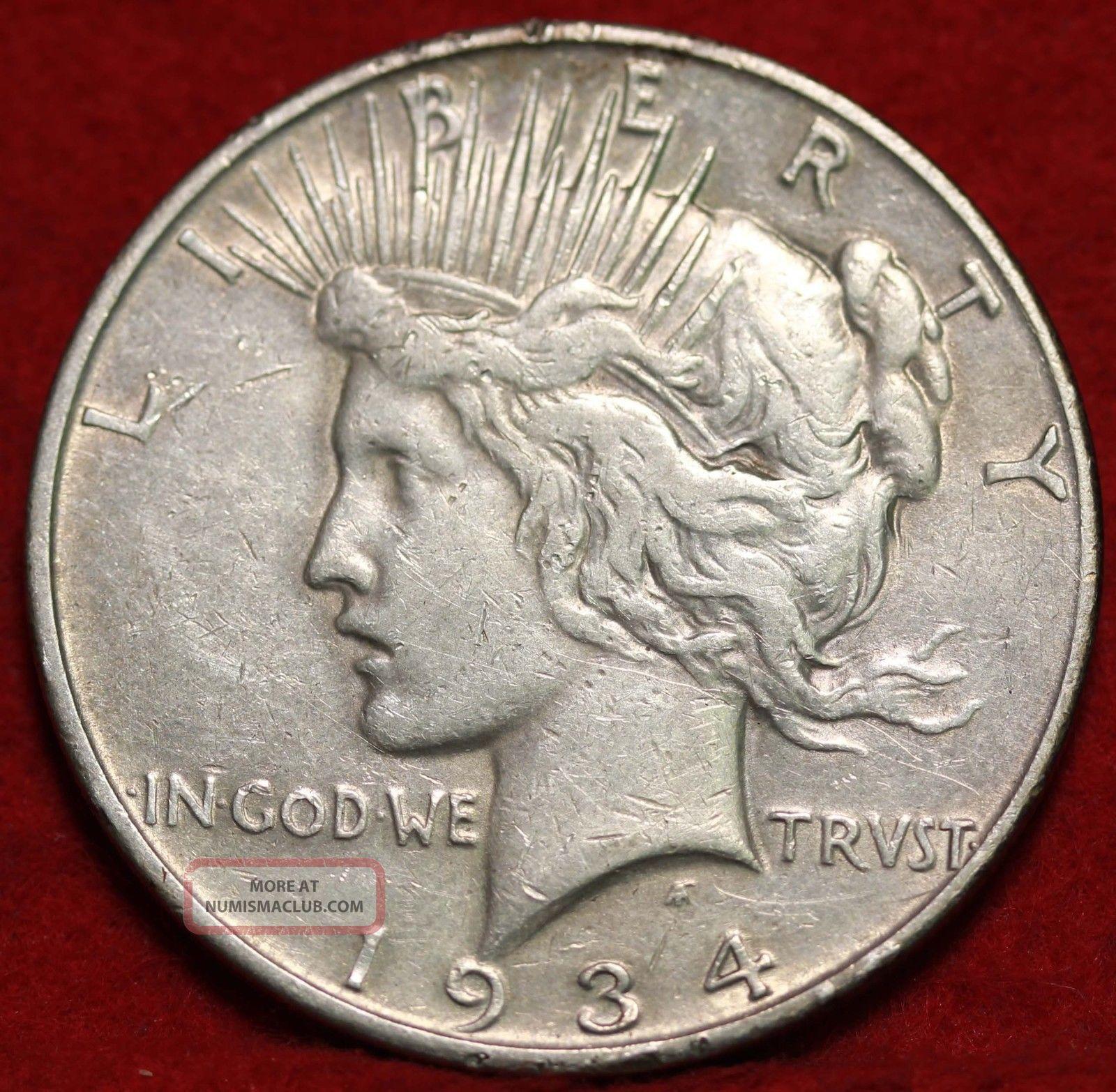 1934 - D Silver Peace Dollar Dollars photo
