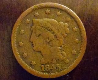 1845 Penny (1 Cent) - Very Good,  Circulated.  Coin. photo