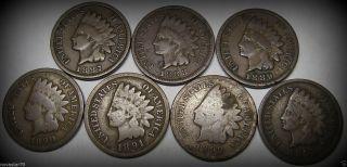 1887,  1888,  1889,  1890,  1891,  1892,  1893 Indian Head Cents/pennies N/r photo