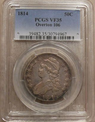 1814 Pcgs Vf35 Capped Bust 50c - Overton 106 Prime O - 106 R.  5 Pcgs Attributed photo