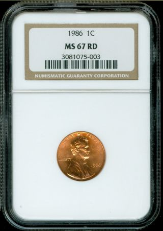 1986 - P Lincoln Cent Ngc Ms67 Rd photo