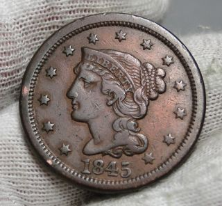 1845 Large Cent Penny,  Braided Hair Penny - Coin (1860) photo