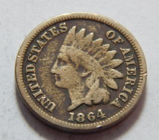 1864 Copper - Nickel Indian Head Penny Cent Coin - Better Date photo