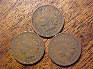 Trio Of Indian Head Cents.  99c photo