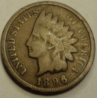 1896 Indian Head Penny Cent Y169 photo
