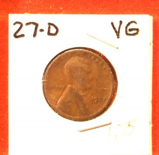 1927 - D Lincoln Cent Vg photo