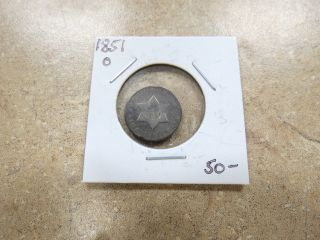 1851 O Three 3 Cent Silver Coin photo