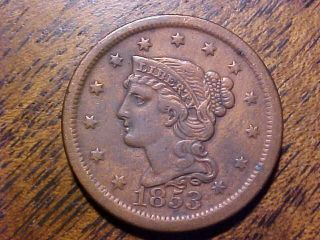 1853 Braided Hair Large Cent Vf,  Detail.  99c photo