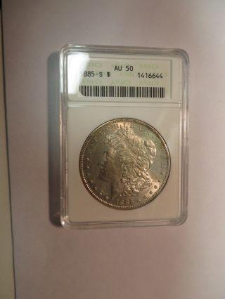 1885 S Morgan Dollar Anacs Au 50 photo