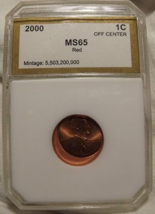Pci 2000 Lincoln Memorial Cent Ms 65 Error Penny.  Off Center,  View Photos Graded photo