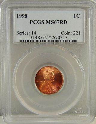 1998 Lincoln Cent Pcgs Ms67rd photo