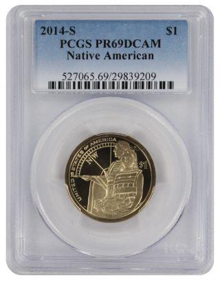 2014 - S Sacagawea Native American Dollar Pr69dcam Pcgs Proof 69 Deep Cameo photo