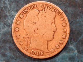 1906 Barber Silver Half Dollar 50c Coin Id Bh004 photo