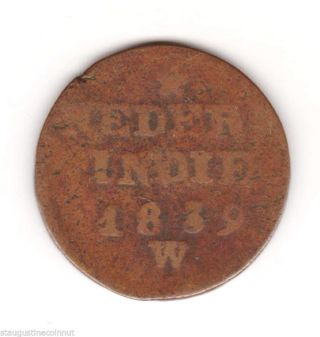 1839 - W Dutch East India Trading Company.  Neder - Indie 2 Cent photo