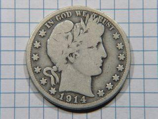 1914 S Silver Barber Half Dollar Grades Very Good Stk Sd382 photo