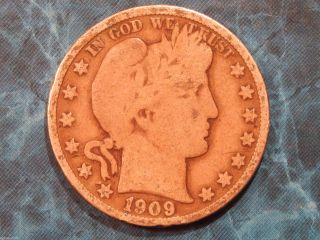 1909 - S Barber Silver Half Dollar 50c Coin Id Bh003 photo