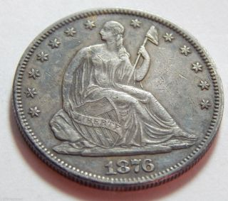 1876 Seated Liberty Half Dollar Silver Coin - Xf Detail photo
