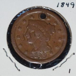1849 1c Braided Hairhead Cent Hole 2 photo