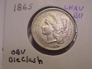 1865 Three Cent Nickel Choice Au Bu Neat Obv Die Clash photo