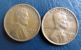 Two (2) 1929 - D Lincoln Wheat Cents,  Nicer Grade Pennies.  Vf/xf photo