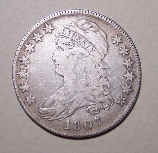 1807 Capped Bust Half Dollar Lrg.  Stars & 50/20 - Med.  Grade (see Photos) photo