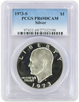 1973 - S Silver Eisenhower Dollar Ike Pr69dcam Pcgs Proof 69 Deep Cameo photo