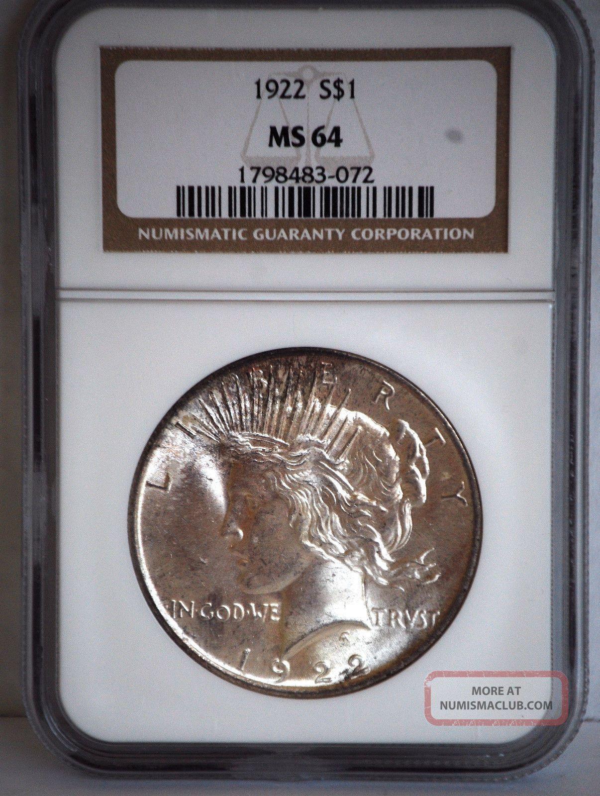 1922 P Silver Peace Dollar Ngc Ms64 1798483 - 072 Dollars photo