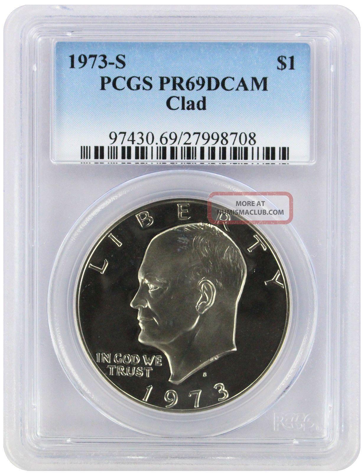 1973 - S Clad Eisenhower Dollar Ike Pr69dcam Pcgs Proof 69 Deep Cameo Dollars photo