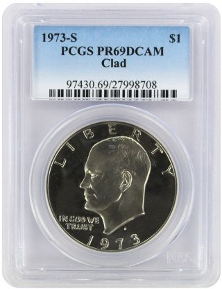 1973 - S Clad Eisenhower Dollar Ike Pr69dcam Pcgs Proof 69 Deep Cameo photo