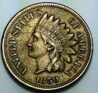 1859 Indian Head Cent,  Raw,  Ungraded, photo