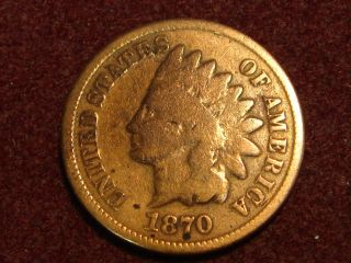 1870 Indian Head Cent G,  Details Tcs photo