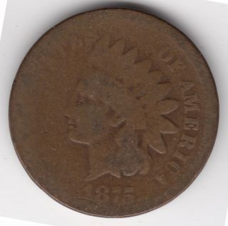 1875 U.  S.  Indian Head One Cent Penny Coin photo