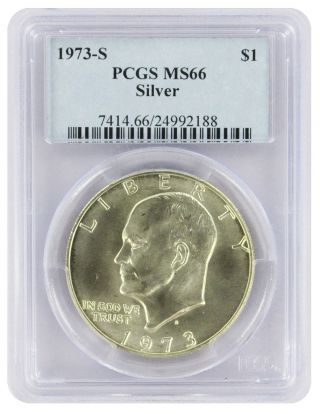 1973 - S Silver Eisenhower Dollar Ike Ms66 Pcgs 66 State photo