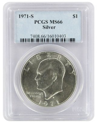 1971 - S Silver Eisenhower Dollar Ike Ms66 Pcgs 66 State photo