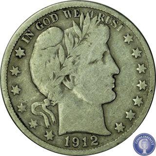 1912 S Fine Silver Barber Half Dollar Old Rare Us Coin 895 photo