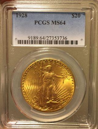 1928 $20 St.  Gaudens Double Eagle Pcgs Ms64 photo